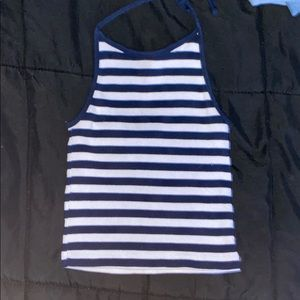 Navy Blue/White Striped Brandy Melville Halter Top